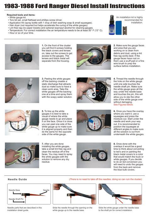motor repair manual 1988 ford ranger instrument cluster 1983 1988 ford ranger diesel i4 dash instrument cluster white face gauges