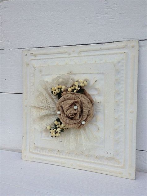 shabby chic ceiling embossed vintage tin ceiling tile white rustic burlap