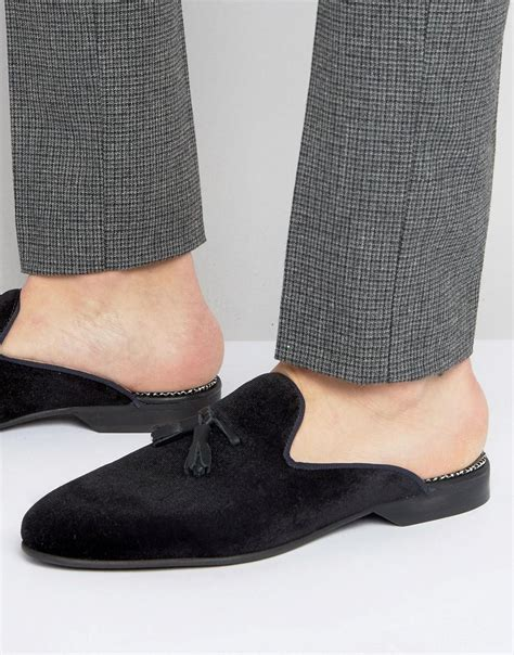 house of hounds house of hounds backless suede loafers in black for men lyst