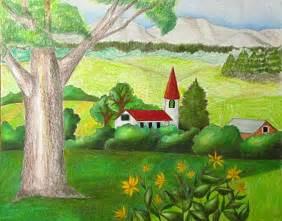 colored pencil landscape color pencil landscape drawing