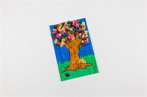 Crafts With Paper And Markers - tissue paper tree craft crayola