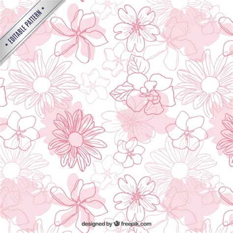 hand drawn flower pattern hand drawn flowers pattern vector free download