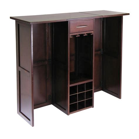 winsome yukon wine cabinet with expandable top espresso amazon com brown 2 pu leather modern adjustable swivel