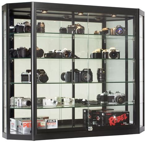 """Angled Front Wall Cabinets   Black Display With 12"""" Depth"""