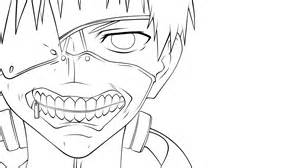 Tokyo Ghoul Kaneki Outline Drawing Sketch Coloring Page sketch template