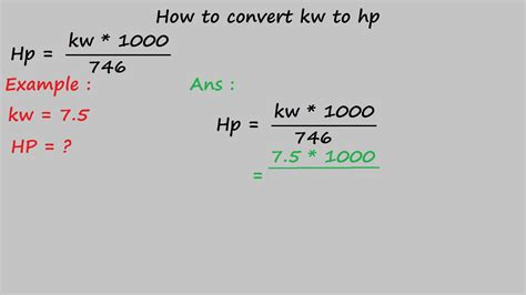 how to convert kw to hp electrical formulas youtube