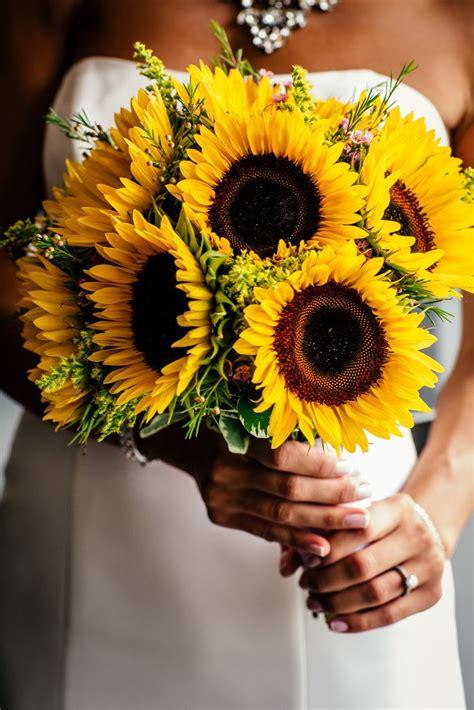 yellow sunflower bridal bouquet popography httpswww