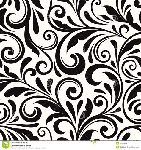 pattern flowers black and white vintage seamless floral pattern vector illustration black
