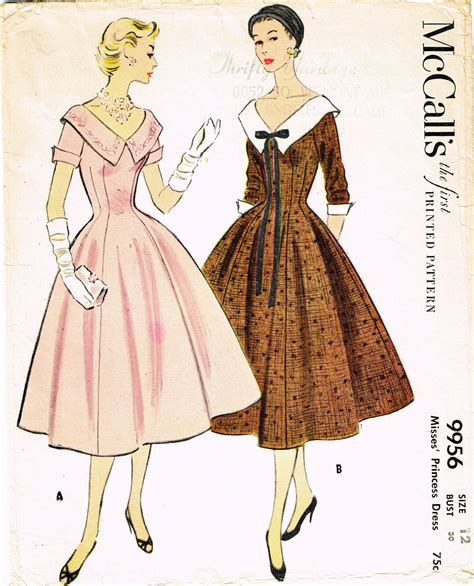 Pattern For Vintage Dress | 1950s vintage misses dress 1954 mccalls vtg sewing pattern