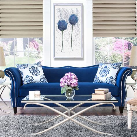 Royal Blue Sofa furniture of america othello royal blue sofa