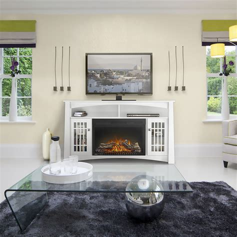 white electric fireplace media console adele electric fireplace media console in white nefp27 0815w