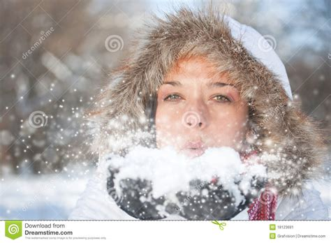 woman blowing snow stock image image