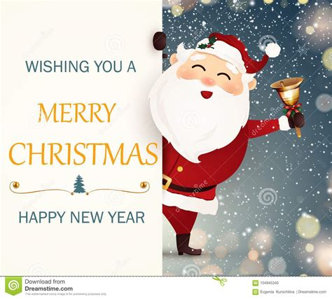 wishing   merry christmas happy  year smiling happy santa claus stock vector