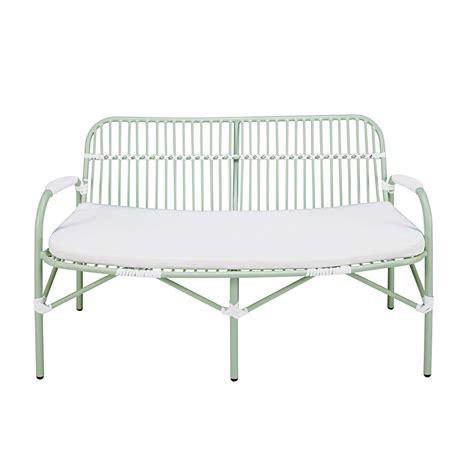 banc jardin blanc banc de jardin 2 places en aluminium vert clair et coussin