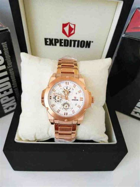 Expedition Wanita Exp 6696 Rosegold White Original jual jam tangan wanita expedition 6696 baru jam tangan