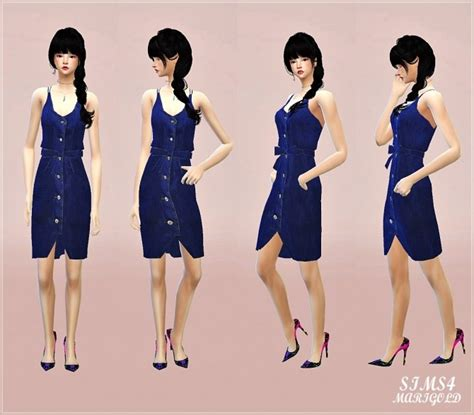 Dress Denim Ribbon ribbon belt denim dress at marigold 187 sims 4 updates