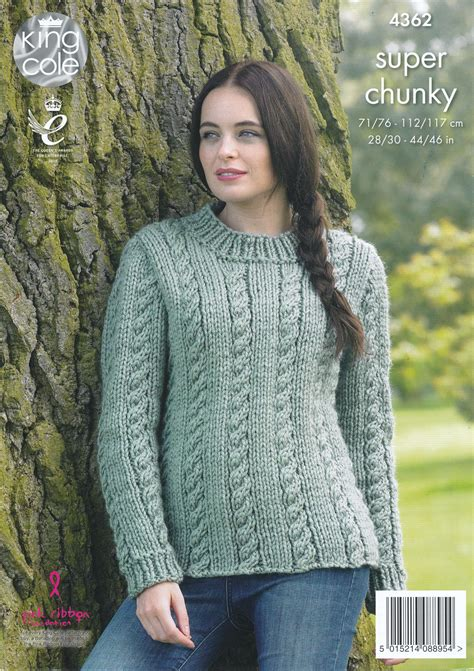 knit sweater pattern large needles ladies super chunky knitting pattern king cole cable knit