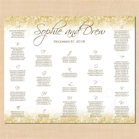 White Gold Sparkles Seating Chart Poster Table Number Alphabetical 22x18 Text Editable In Wedding Seating Chart Poster Template Word