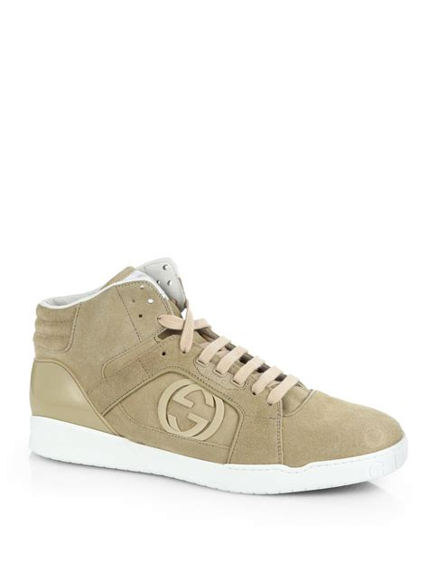 gucci sneakers for gucci rebound mid hightop sneakers in green for lyst