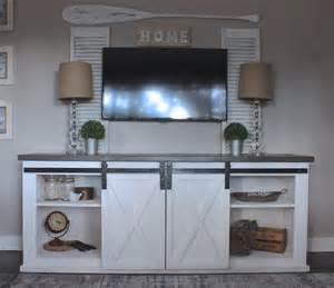 sliding barn door tv stand white white sliding barn door console diy projects