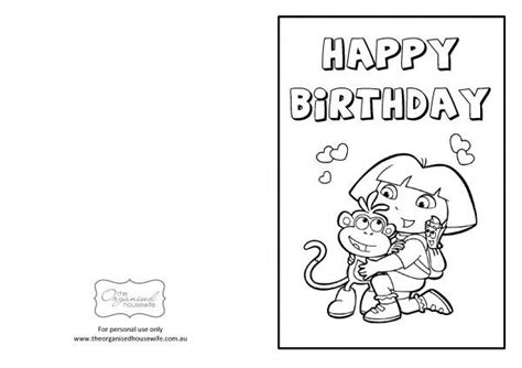 printable birthday cards that can be colored 8 best images of free dora printable cards printable