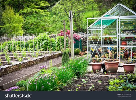 Flourishing Garden by Flourishing Vegetable Garden Greenhouse Rural