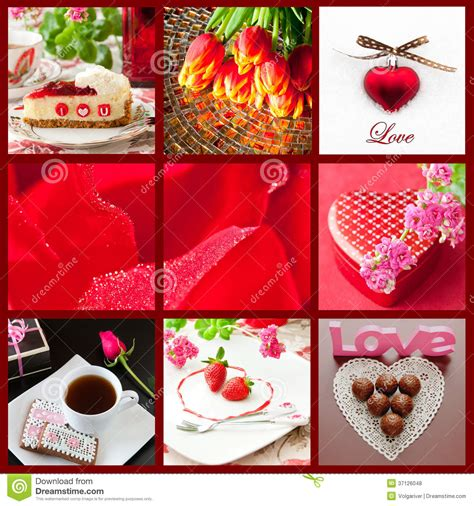 valentines day collage beautiful valentines day collage royalty free stock photos