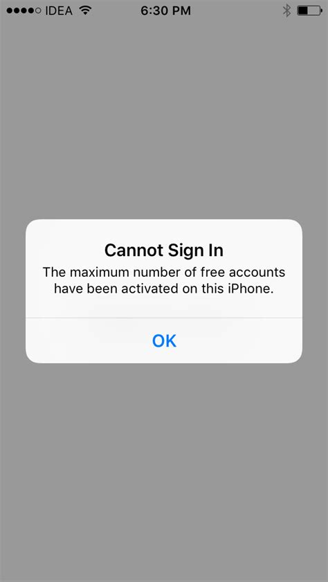 ios not sign in the maximum number of free accounts been activated on this iphone