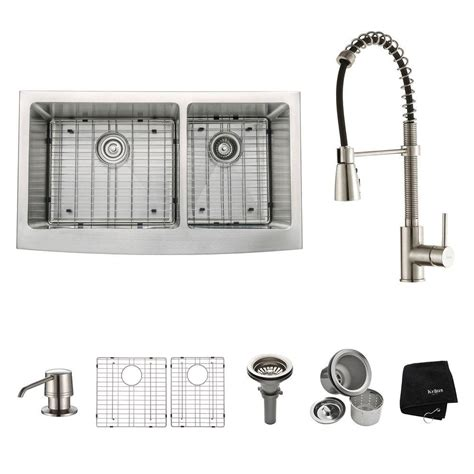 kraus 36 apron sink kraus all in one farmhouse apron front stainless steel 36