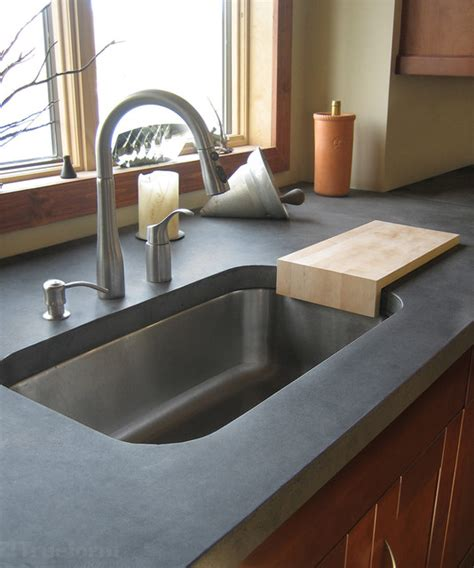 Concrete Countertop And Sink by Concrete Countertops Kitchen New York