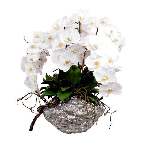 white orchid silk flower arrangement metallic pot shop