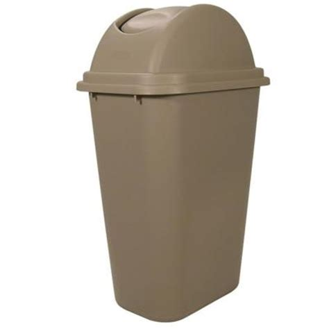 swing top trash can rubbermaid commercial products untouchable 10 gal beige
