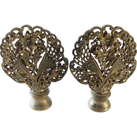 Vintage L Finials by Vintage Pair Gilt Filigree L Finials Sold On Ruby