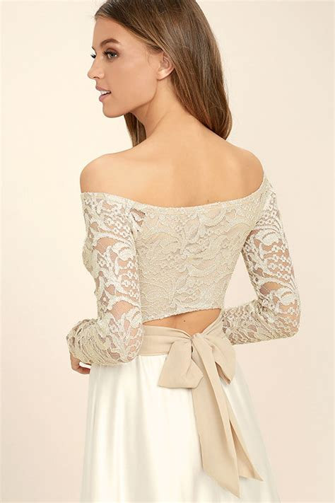 Keira Top Lace Blouse Hijaber beige top lace crop top tying crop top 36 00