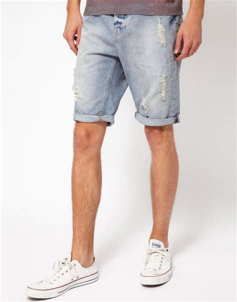 Sale Branded Hotpants Ripped Murah On The Rock river island ripped denim shorts in blue for lyst