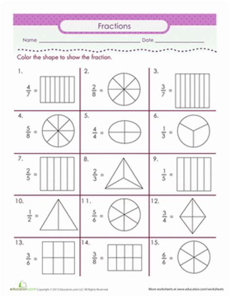 fraction coloring sheets color the fraction worksheet education