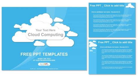 Cloud Computing On Blue Powerpoint Templates Cloud Computing Ppt Templates Free