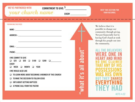 church finacial pledge cards template pledge and welcome cards one write company