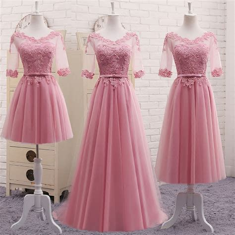 Dress Pretty Dusty Pink vestidos new dusty pink bridesmaid dress half sleeved lace embroidery wedding