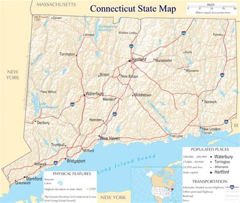 Search In Ct Connecticut State Map A Large Detailed Map Of Connecticut State Usa