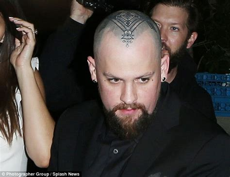 benji madden debuts massive tattoo on his shaved head as