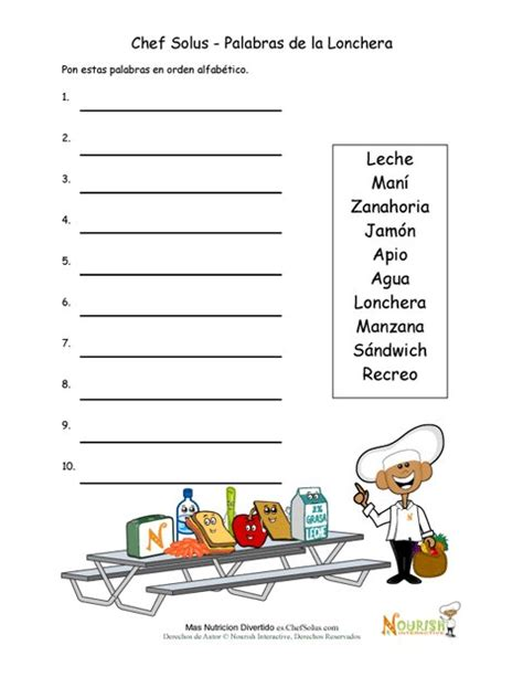 imagenes en ingles en orden alfabetico actividad de orden alfab 233 tico de palabras del almuerzo