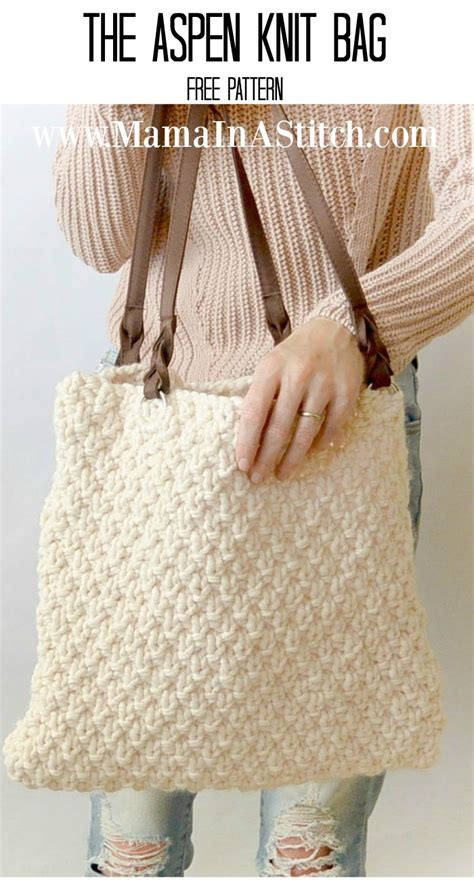 free knitted tote bag patterns aspen mountain knit bag pattern in a stitch