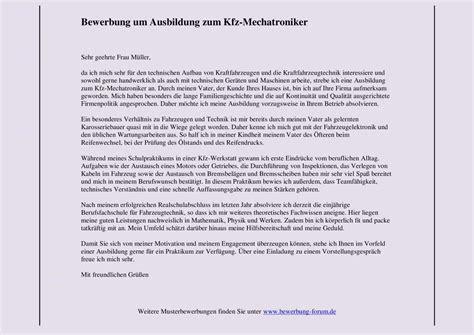 Anschreiben Bewerbung Ausbildung Mechatroniker kfz mechatroniker bewerbung kostenlose anwendung die
