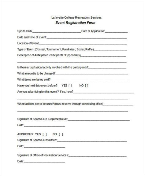 sports registration form template free registration form templates