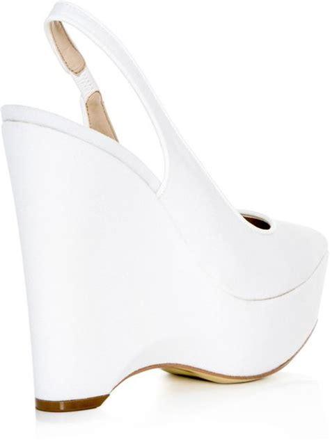 stella mccartney natalie canvas wedge shoes in white lyst