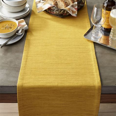 Grasscloth 90 quot mustard table runner crate and barrel