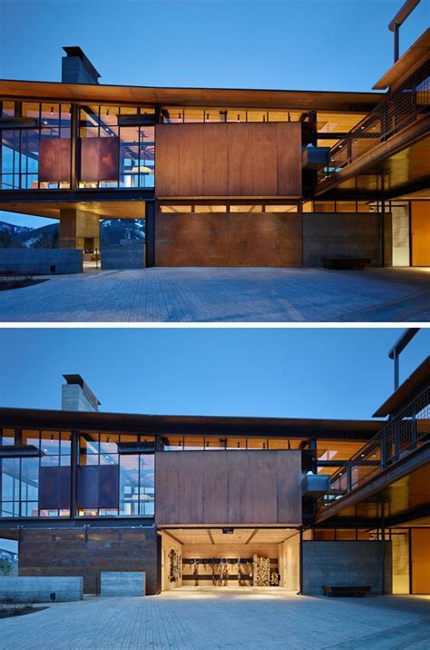This modern mountain house is filled with industrial