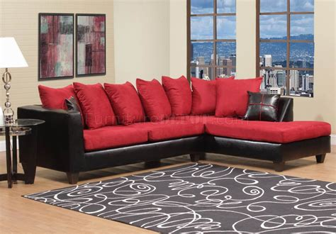 red and black sofa red fabric black vinyl modern sectional sofa w wood legs