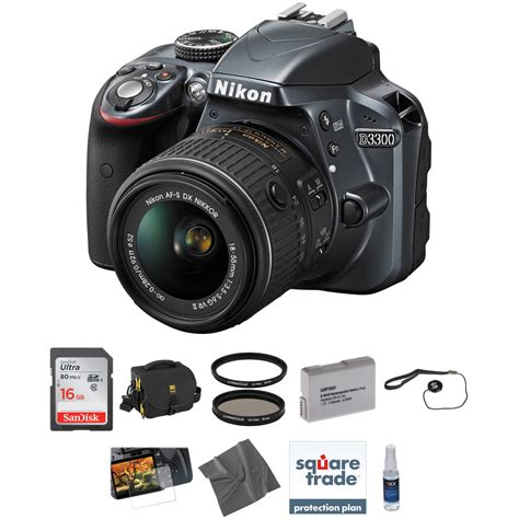 nikon d3300 dslr kit with 18 55mm lens gray b h photo